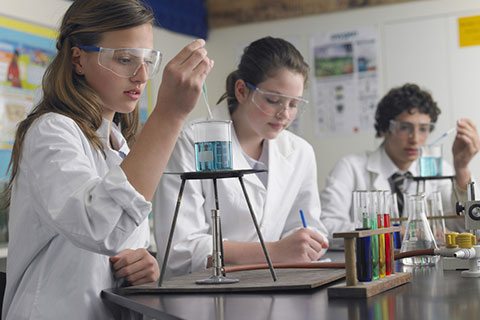 High school chemistry students working in laboratory
