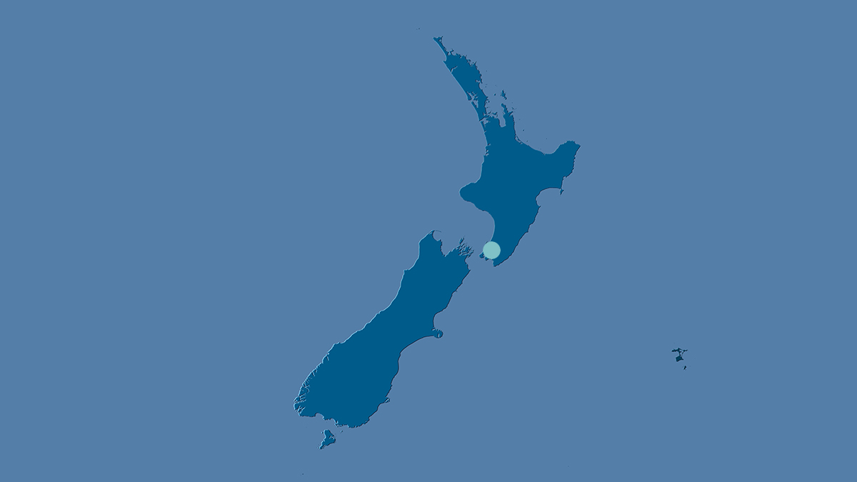 Map of NZ with dot on Wellington