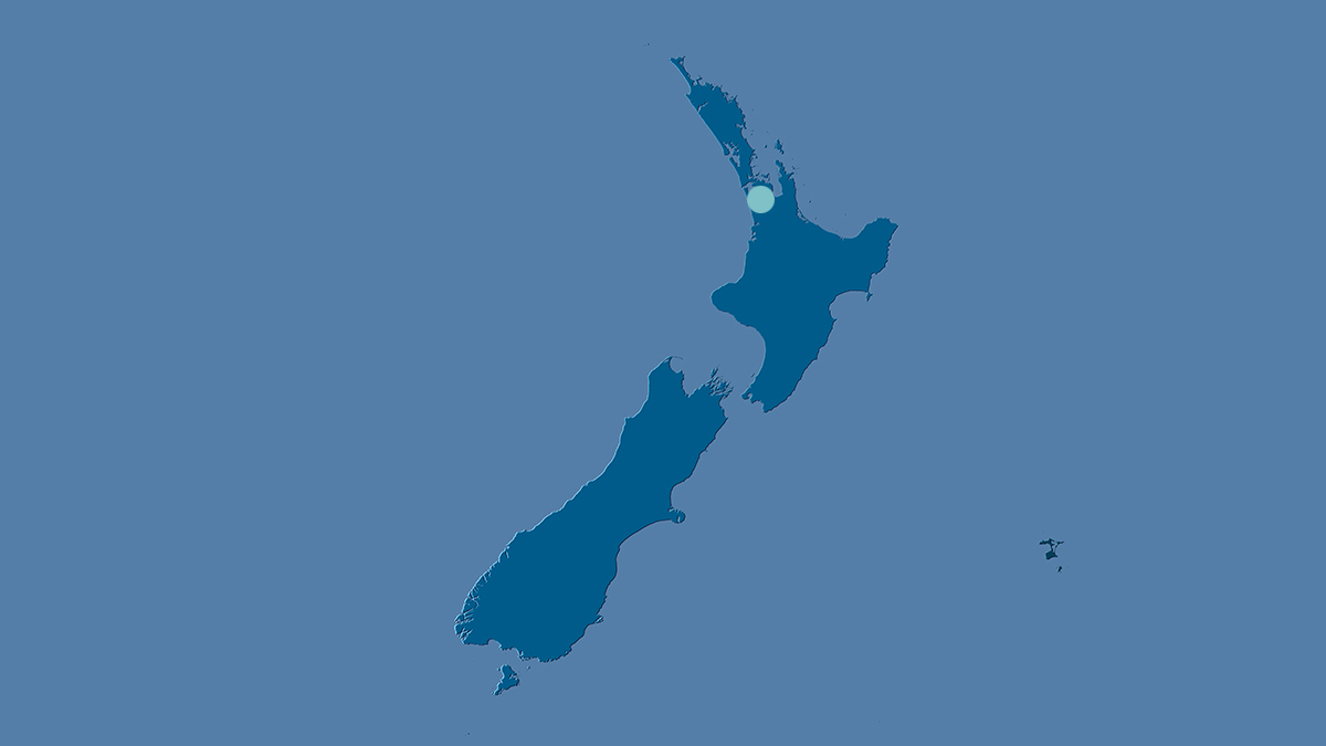 Map of NZ with dot on Auckland