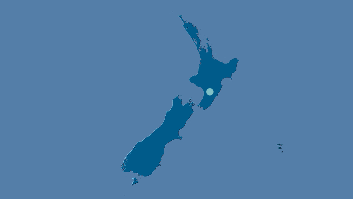 Map of NZ with dot on Palmerston North